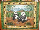 Finished fabric Panda Bear family wall hanging ready to hang