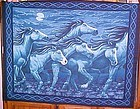 1 yd uncut fabric panel Moonlight horse stampede  new old stock