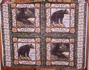 1 yd uncut fabric 4 block panel of Montana Black Bears new old stock