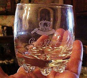 Crown Royal whiskey glass Etched logo bumpy bottom