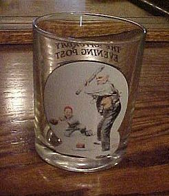 Norman Rockwell Saturday Evening Post glass Gramps at the plate