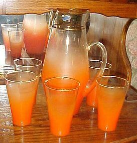 West Virginia Glass Orange Blendo Gala pitcher and glasses set