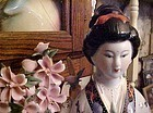 "Large porcelain Japanese lady and cherry blossoms figurine 16"" tall"