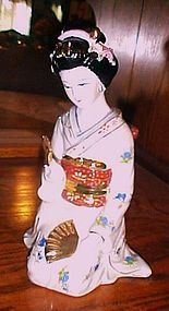 Large Gorgeous Japanese Geisha kneeling figurine 9""