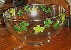 Vintage clear hand painted green ivy punch bowl