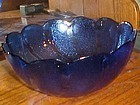Large Arcoroc France cobalt blue swirled salad bowl 10 1/2""