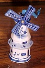 Blue delft hand painted windmill Christmas ornament