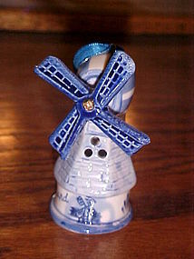 Vintage hand painted blue delft windmill Christmas ornament