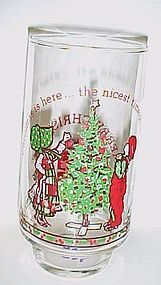 Holly Hobbie glass Christmas is here the nicest time of the year
