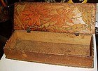 Vintage Art Noveau Flemish Pyrography wood glove box