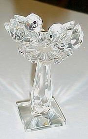 Lovely Iris Arc crystal birds on a birdbath marked