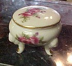 Vintage three legged porcelain ring box with roses decoration