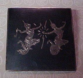 Vintage Siam Sterling silver black pin with dancers