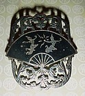 Gorgeous vintage Siam Sterling silver pin fan and dancers