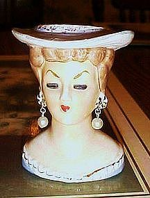 Small vintage 3.5 lady head vase with hat and pearl earrings Japan