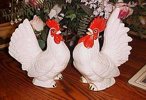 Vintage Large white hen and rooster split tail chickens pair BP Japan