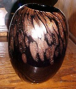 Beautiful hand blown art glass black vase coppery gold fleck spatters