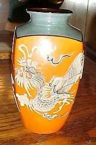 Amazing Nippon blue and orange lustre dragonware vase blue eyed dragon