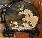 Vintage Chinese cork diorama with  panda bears and black lacquer frame