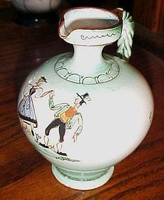 Vintage Austria Redware pottery pitcher h/p dancing folk people