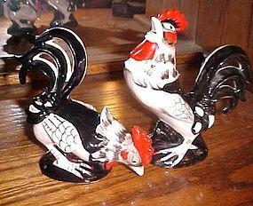 VIntage ceramic chicken roosters pair 2073
