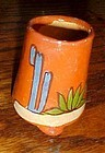 Vintage hand painted Mexico clay toothpick holder cactus southwestern