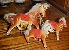 Vintage 3 piece ceramic horse family figurines fur on mane and tails