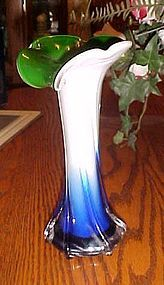Pretty hand blown cased glass jack in the pulpit style vase 15 3/8""