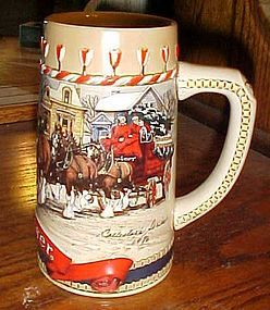 1986 Budweiser holiday stein Clydesdales
