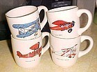 Vintage USA airplane mugs set of 4