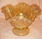 Westmoreland ruffled yellow carnival glass bowl paneled grape