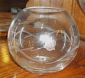 Fostoria cut crystal floral design rose bowl ball vase Romania