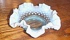Vintage Fenton blue opalescent hobnail ruffled candy bowl