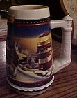 Budweiser 2002 Holiday beer stein Lighting the way home