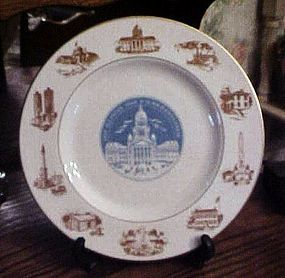 "Illinois Sesquicentennial souvenir plate 10.5"" Marshall Fields"