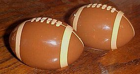 Ceramic footballs salt and pepper shakers