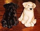 Black and golden labrador retriever salt and pepper shakers