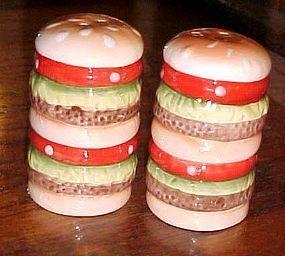 Triple decker hamburger salt and pepper shakers