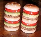 Triple decker hamburger salt and pepper shakers