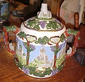 Large vintage cookie jar Castles and grapes