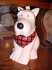 White scotty dog Westie cookie jar plaid scarf
