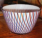 Large red white and blue cased glass bowl
