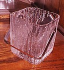 Mid century Hoya block of Ice glass bucket and tongs