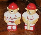 Bears dressed in Cardinal's baseball uniforms salt pepper shakers