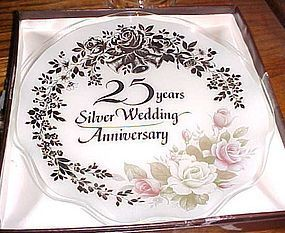 25th Anniversary presentation plate by Celebrity Fiesta Glass