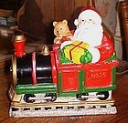 Santa and Christmas train ceramic cookie jar