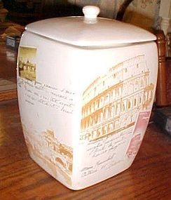 Nonni's ceramic biscotti jar scenes of Rome Venice Italy