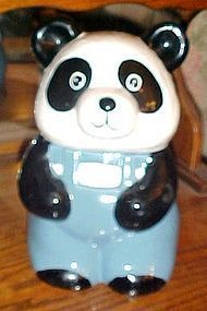 Ceramic Panda bear wearing overalls cookie jar by NAC 1985