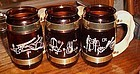 Vintage Siesta ware brown glass barrel mugs western themed