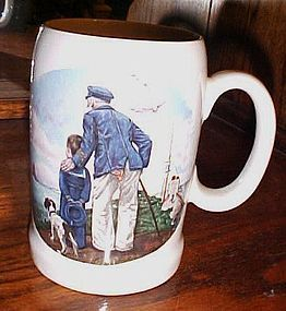 Vintage Norman Rockwell Looking out to sea large stein